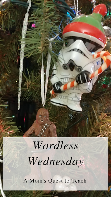 Text: Wordless Wednesday: A Mom's Quest to Teach; 2 ornaments - Chewy & Storm Trooper