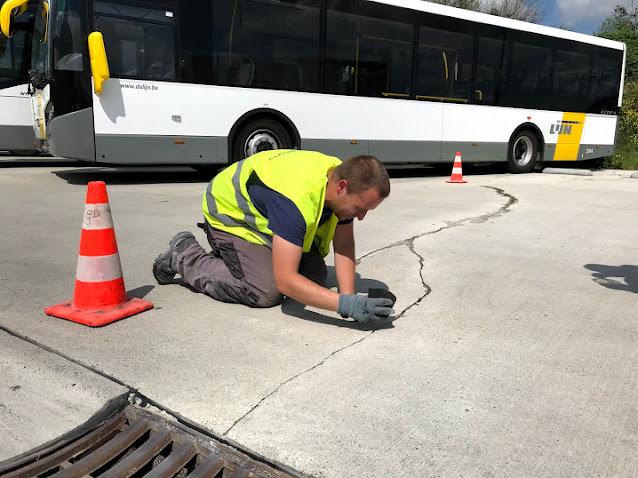Herstellen scheuren parking - Diabeton - betonscheur herstellen