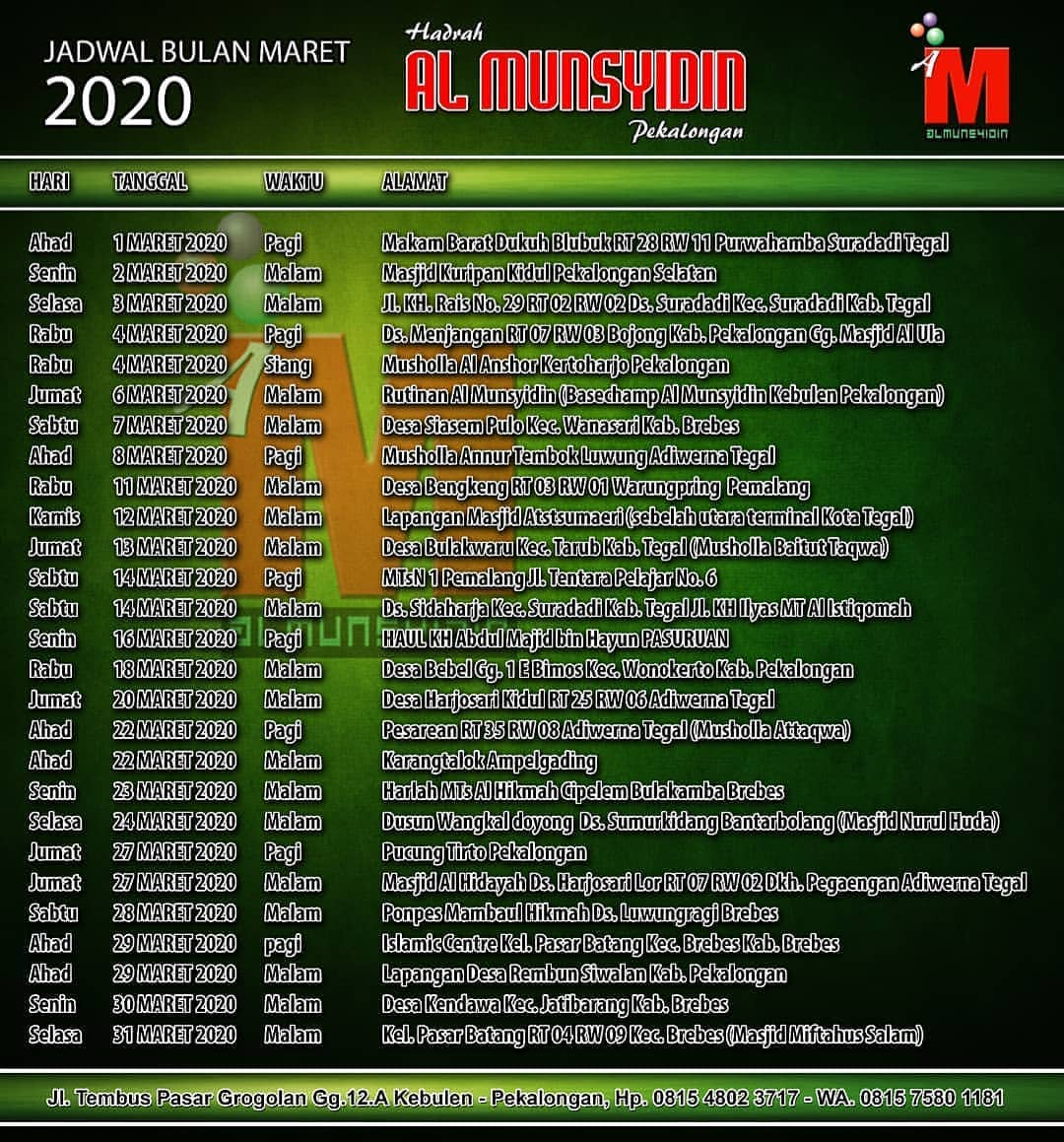 jadwal al munsyidin maret 2020