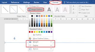 Mengubah Format Garis Shape di Word