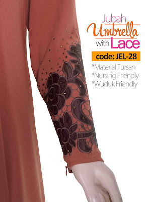Jubah Umbrella Lace JEL-28 Persian Brown Tangan 2