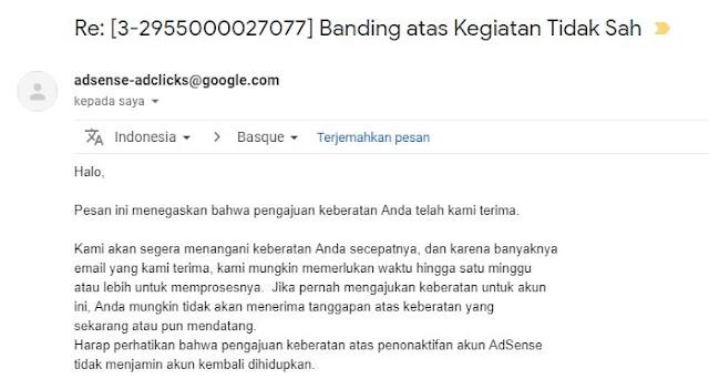 Balasan Email Banding Kegiatan Tidak Sah
