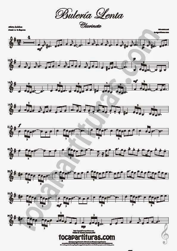 1  Bulería Lenta Partitura de Clarinete Sheet Music for Clarinet Music Score Flamenco