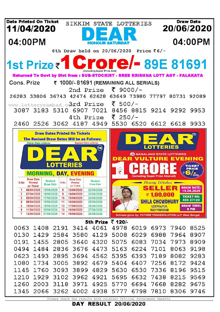 Sikkim State Lottery Sambad 11-04-2020 Today Result 4 PM