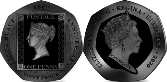 Gibraltar 50 pence 2019 - 180th Anniversary of the Penny Black Stamp