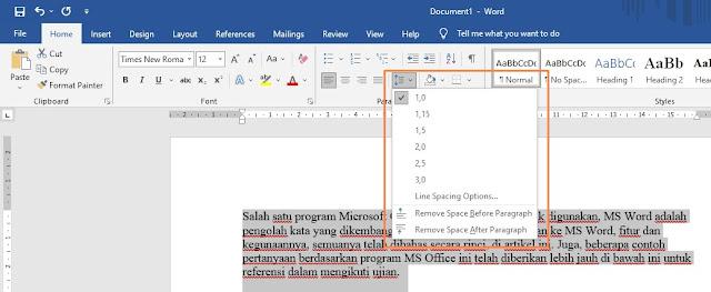 Cara mengubah spasi dalam dokumen word