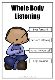 classroom, rules, poster, sitting, class, rule, whole body listening