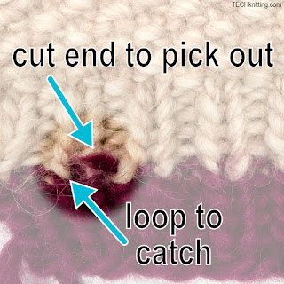 shortening ribbing--after snipping there is a cut end TECHknitting.com