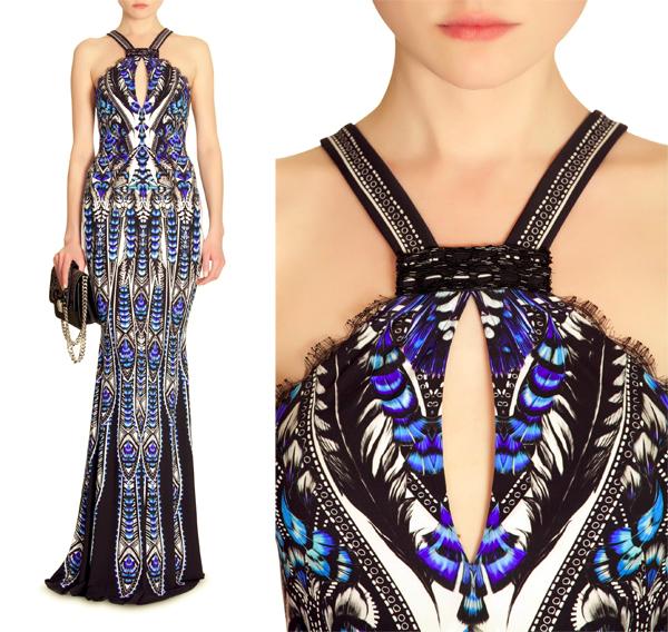 neckline, beaded neckline, neckline ideas, neckline design, print dress, roberto calalli