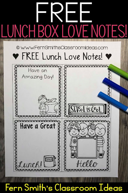 Perfect for Back to School Free Lunch Box Love Notes For Home OR School!