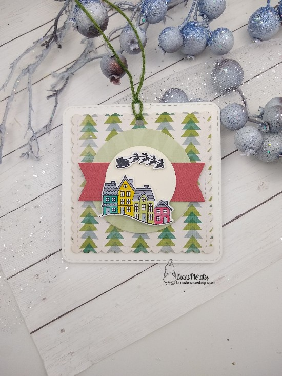 Diane's card features Snow Globe, Frames Squared and Frames & Flags by Newton's Nook Designs; #newtonsnook