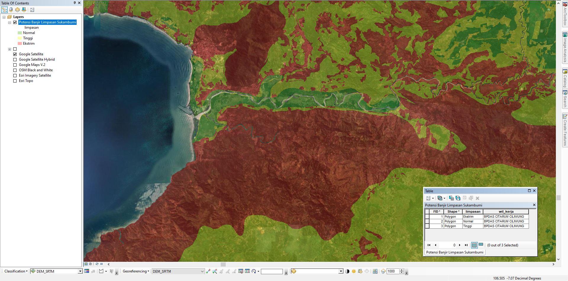 SHP Peta Potensi Banjir Limpasan