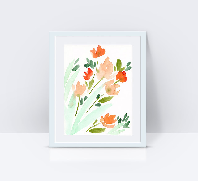 Original Abstract Floral Watercolor Art by Elise Engh