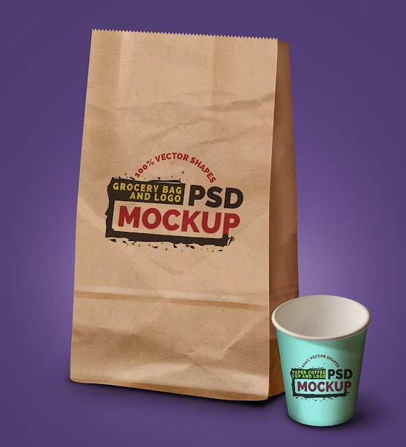 Grocery Bag, Coffee Cup Mockup