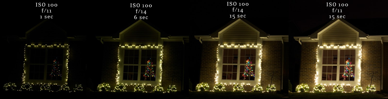 different camera settings for christmas lights