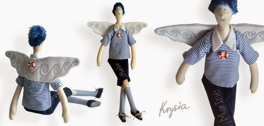 anioł tilda marynistyczny - spersonalizowany anioł uszyty na zamówienie - Krysia to uszyła