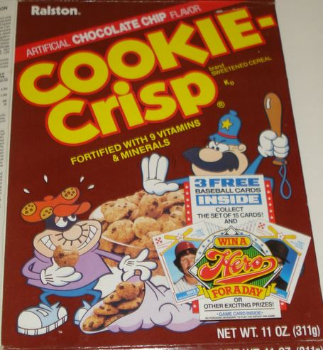 Clydes stale cards ralston purina 1987 collectors edition in packs of three buried in specially marked boxes of regular and vanilla cookie crisp and the less well known test run of honey graham chex ccuart Images