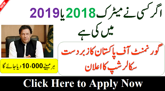 Govt Free Scholarship for Metric Pass Students 2020 Apply Now