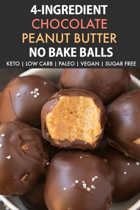 4 Ingredients No Bake Low Carb Chocolate Peanut Butter Balls