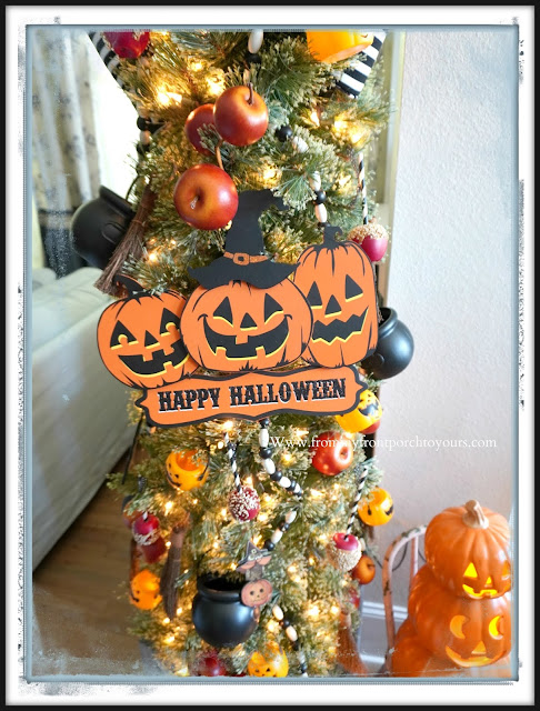Fun Vintage Halloween Festive Christmas Tree-Pumpkin Sign-From My Front Porch To Yours