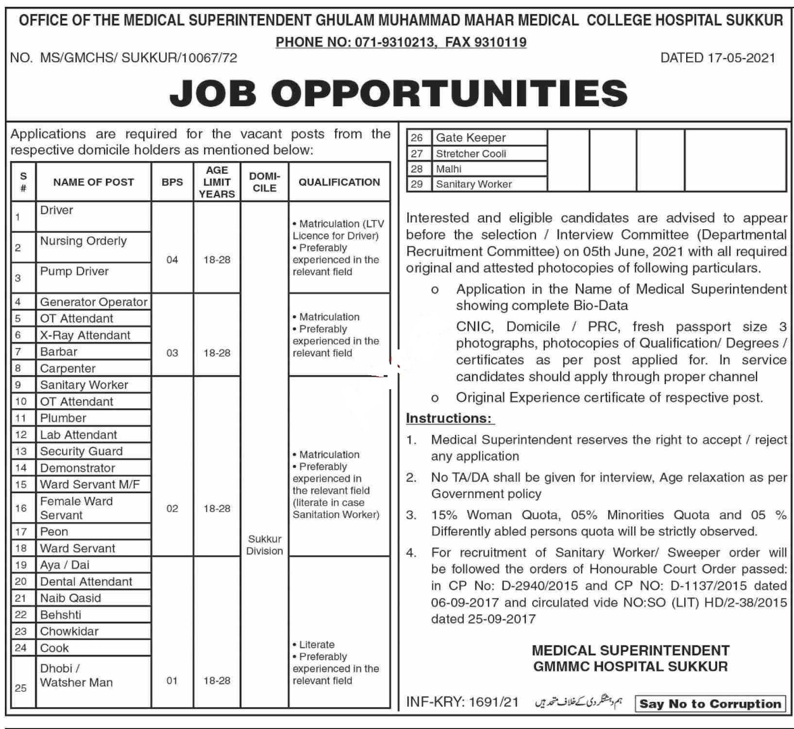 Ghulam Muhammad Mahar Medical College GMMMC Sukkur Jobs 2021