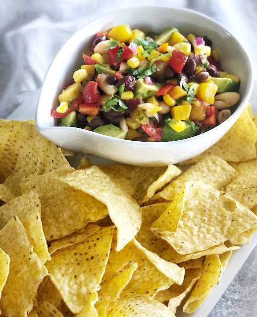 black bean salad and chips
