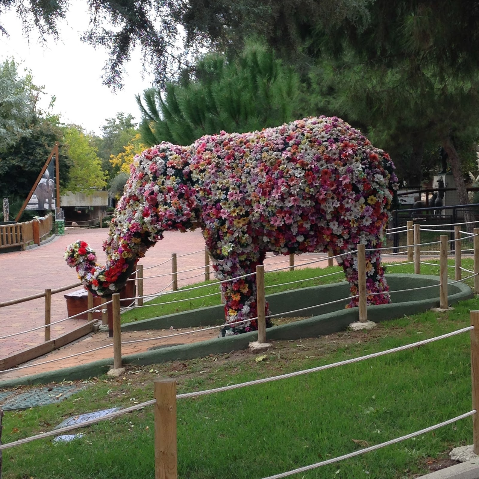 Elephant made out of flowers