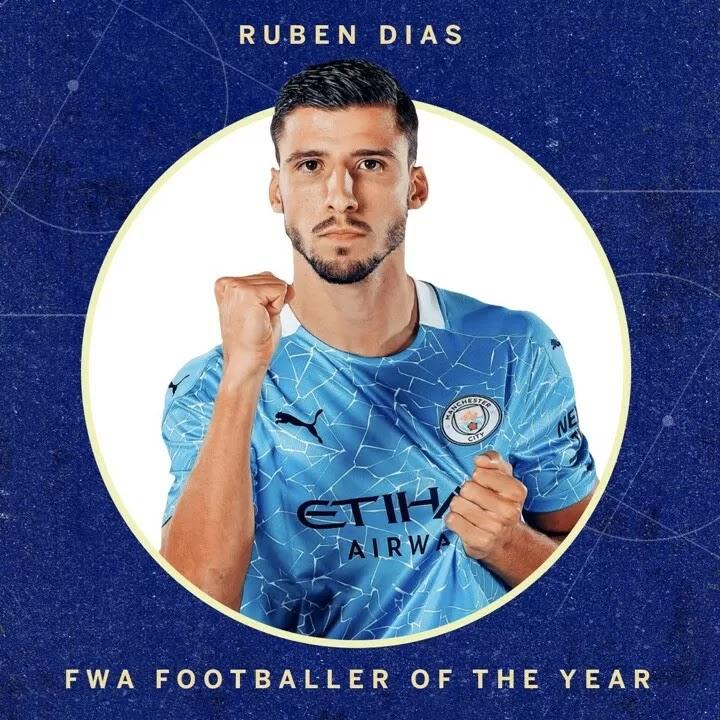 Man City's Ruben Dias has been crowned the 2020-21 FWA Footballer