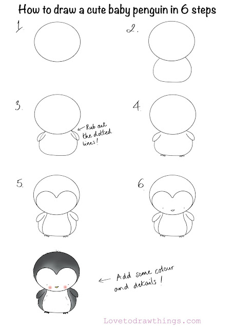 How to draw a cute baby penguin