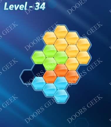 Block! Hexa Puzzle [5 Mania] Level 34 Solution, Cheats, Walkthrough for android, iphone, ipad, ipod