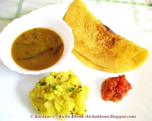 Adai sambar bhaji chutney