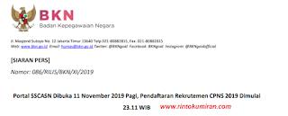 Portal SSCASN Dibuka 11 November 2019 Pagi, Pendaftaran Rekrutemen CPNS 2019 Dimulai 23.11 WIB