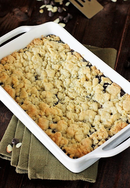 Fudgy Chocolate Layer Bars with Crumb Topping in Baking Dish Image