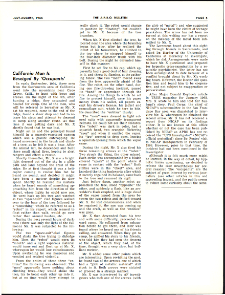 California Man is Beseiged By 'Occupants' - The APRO Bulletin (July-August, 1966)