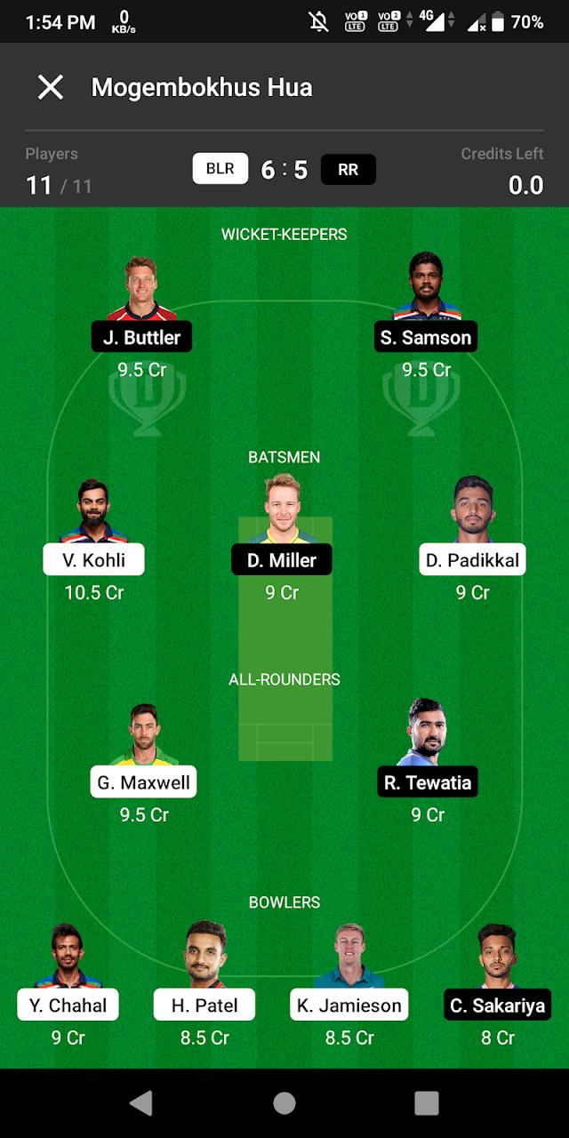 Bangalore vs Rajasthan Dream 11 prediction
