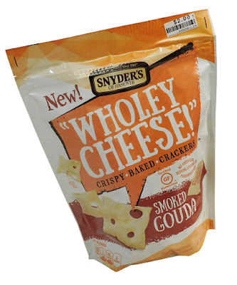 "Snyder's ""wholey cheese"" smoked gouda flavoured crackers."