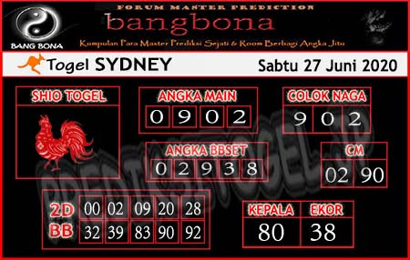 Prediksi Sydney Bangbona Sabtu 27 Juni 2020