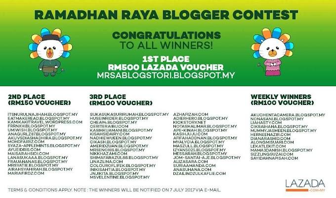 Pemenang Lazada Ramadhan Raya Blogger Contest