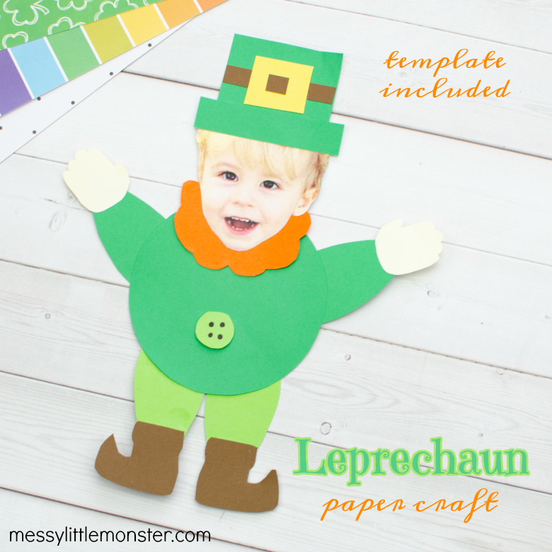 Mix and Match Paper Leprechaun craft (with printable leprechaun template)