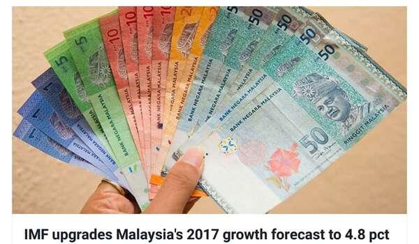 IMF menaikkan gred ramalan pertumbuhan Malaysia 2017 kepada 4.8 peratus