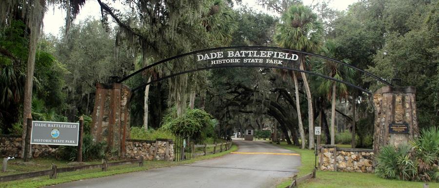 Entrada al Dade Battlefield Historic State Park