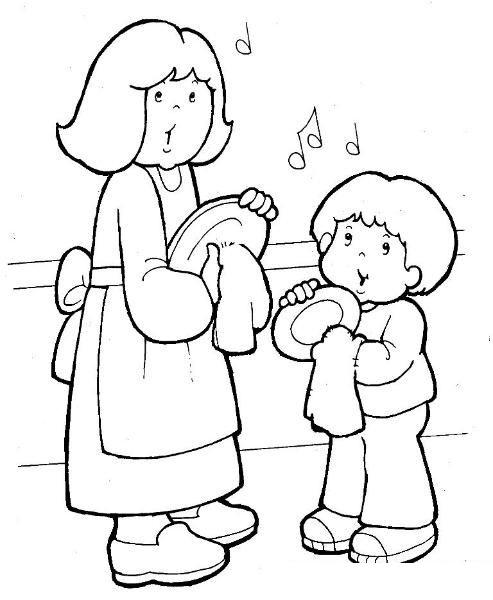 Hình tô màu bé giúp mẹ lau bát đĩa