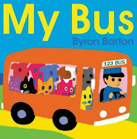 Cover of My Bus by Byron Barton with bus, bus driver, and 5 dogs and 5 cats aboard