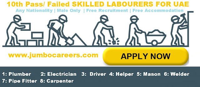 Skilled labourers wanted in UAE, Skilled labourers salary in UAE.