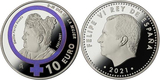Spain 10 euro 2021 - Emilia Pardo Bazán