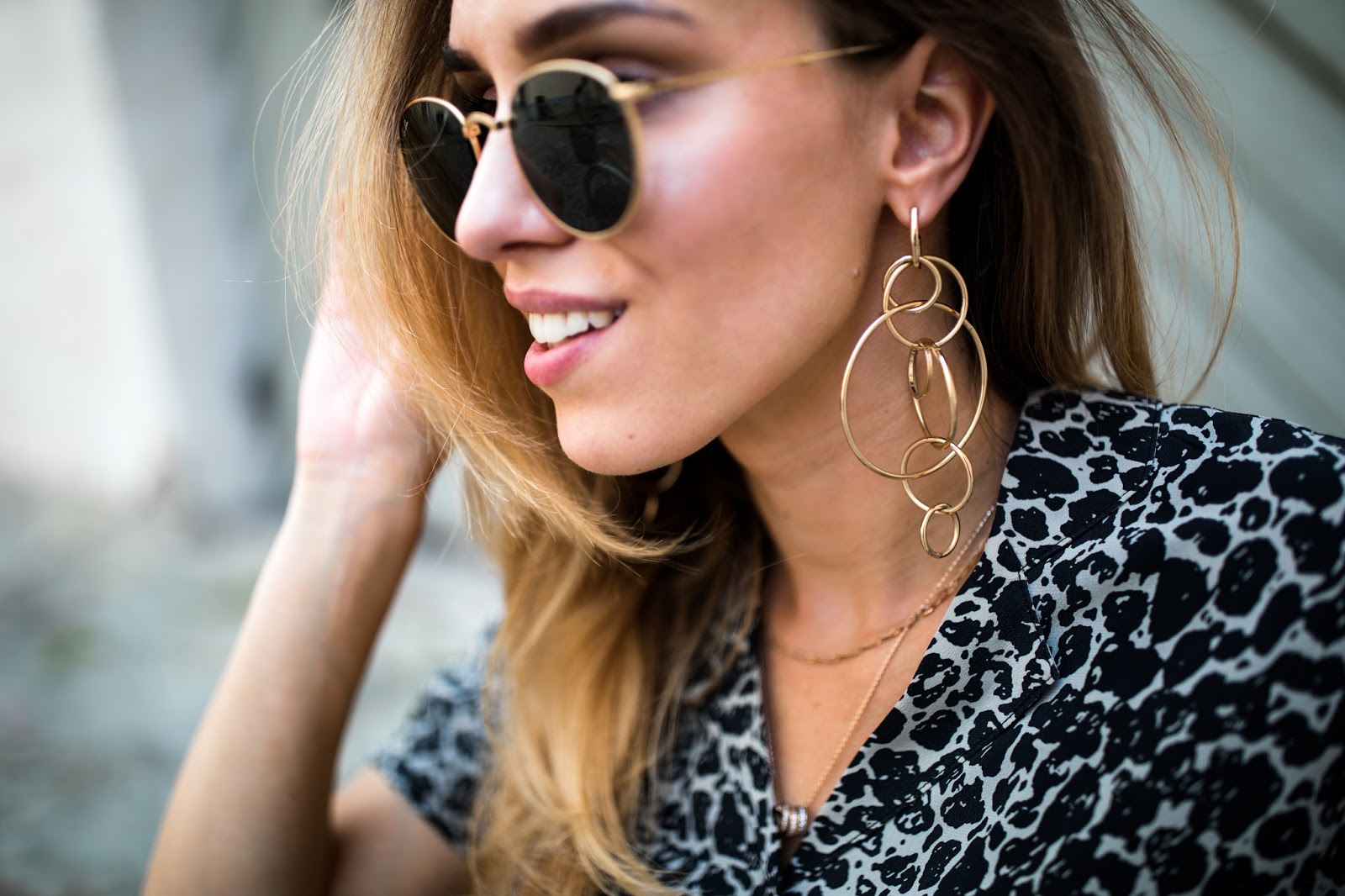 zara gold multiple linked hoop earrings
