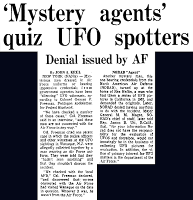 Mystery Agents Quiz UFO Spotters - Herald American 2-12-1967