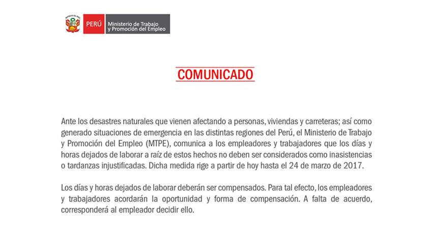 COMUNICADO MINISTERIO TRABAJO: Días no laborados por desastres naturales - www.trabajo.gob.pe