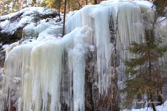 Jääpuikot roikkuvat kalliolla