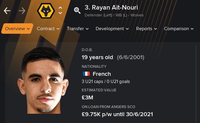 Rayan Ait-Nouri FM21 Football Manager 2021 Wonderkid